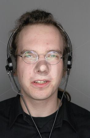 MPIXIS585044 stock photo, Man wearing a telephone headset by Mpixis World