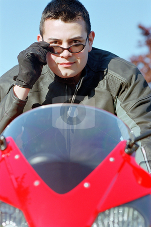 MPIXIS550180 stock photo, Man on motor bike by Mpixis World