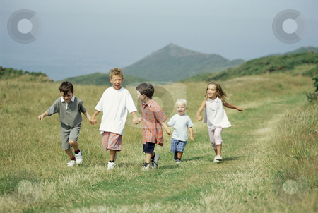 MPIXIS550987 stock photo, Children walking in the countryside by Mpixis World