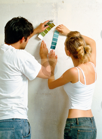 MPIXIS574027 stock photo, Couple using colour swatches by Mpixis World