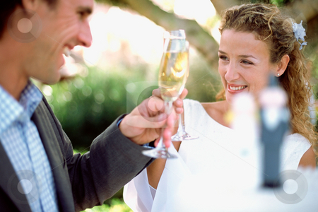 Wedding couple toasting stock photo, Newlyweds toasting with champagne by Mpixis World