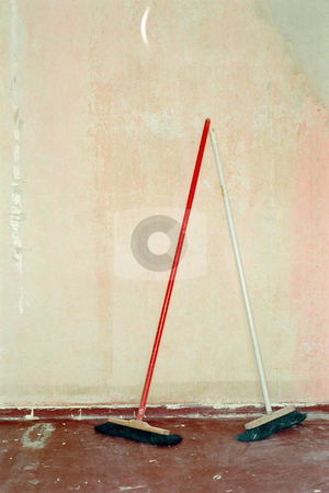 MPIXIS574026 stock photo, Pair of brooms by Mpixis World