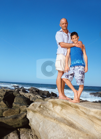 MPIXIS550159 stock photo, Father and son by the sea by Mpixis World