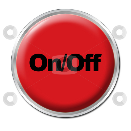 On/Off Button stock photo, Red round button with the symbol On/Off by Petr Koudelka