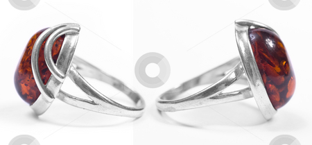 Amber ring profiles stock photo, Amber ring profiles on white isolated background by Adrian Costea