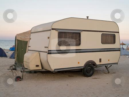 Caravan trailer stock photo, Caravan traileron the beach sunset by Adrian Costea