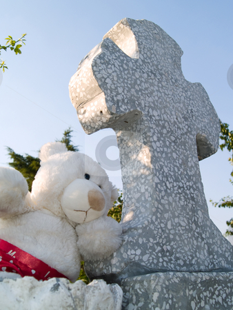 Cross stock photo, Teddy bear on a cross in cemetery by Adrian Costea