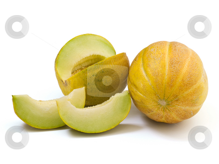 Melon slices3 stock photo, Melon slices isolated on white background by Adrian Costea
