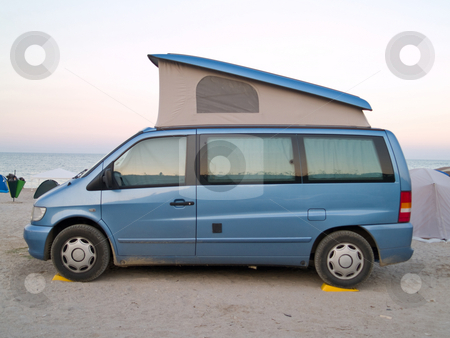 Caravan car stock photo, Caravan car on the beach sunset by Adrian Costea