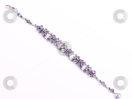 Purple silver bracelet2 stock photo, Purple bracelet on white isolated background by Adrian Costea