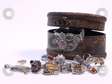Opened jewelry box stock photo, Opened jewelry box isolated on white background by Adrian Costea
