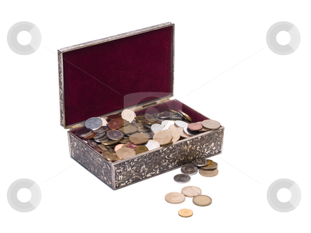 Treasure box stock photo, Treasure box isolated on white background white coins by Adrian Costea