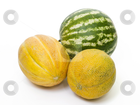 Watermelon yellow melon  stock photo, Yellow melon isolated on white background by Adrian Costea