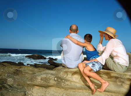 MPIXIS550147 stock photo, Family looking out to sea by Mpixis World