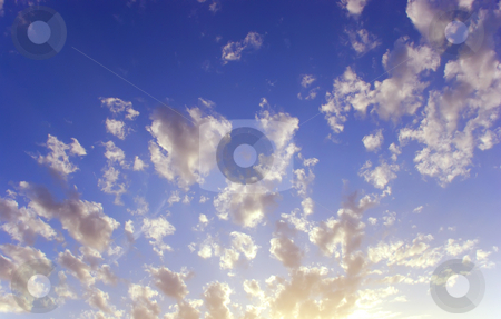 Cloudy background stock photo, A background with a fluffy clouds and a blue sky by Ivan Paunovic