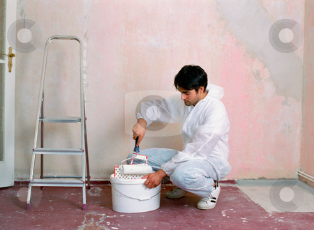 MPIXIS574031 stock photo, Man decorating a room by Mpixis World