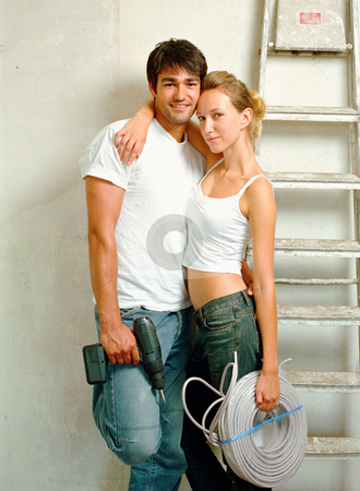 MPIXIS574009 stock photo, Decorating couple hugging by Mpixis World