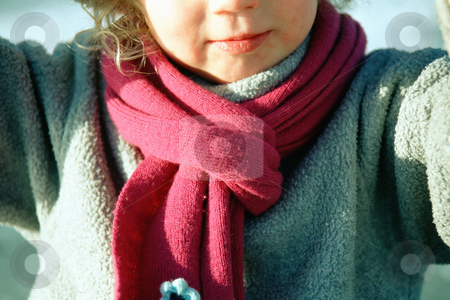 Winter scarf stock photo, Child in red scarf by Mpixis World