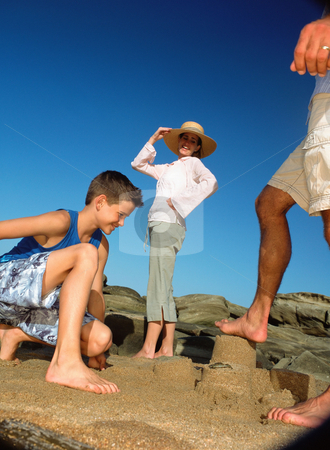 MPIXIS550149 stock photo, Family with sandcastle by Mpixis World