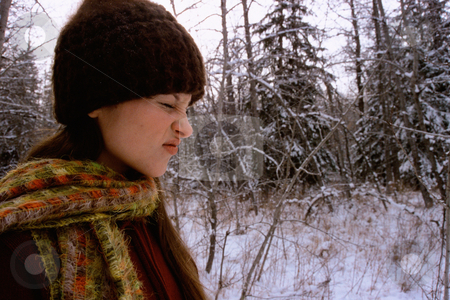 MPIXIS580006 stock photo, Girl screwing up nose in snow by Mpixis World