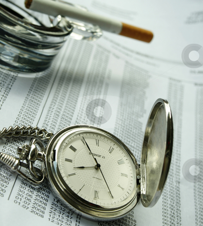 Watch and ashtray with a cigarette on documents stock photo, Watch and ashtray with a cigarette on documents by Tatiana Grinberg