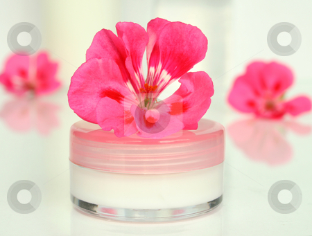 Cream for a face with flower on a light surface stock photo, Cream for a face with flower on a light surface by Tatiana Grinberg