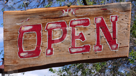 Hand Painted Open Sign stock photo, Open Sign Red and White letters on wood background. by Steve Stedman