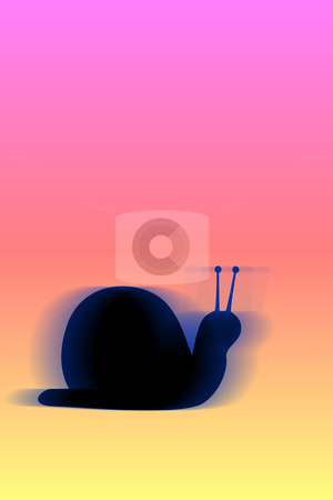 Snail on speed stock photo, Moving snail on coloured background by Wino Evertz