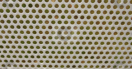 Steel Mesh Screen stock photo, Metal mesh screen outdoors with some water droplets on it. by Steve Stedman