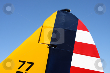 PT-19A Tail Fin stock photo, Tail fin of a PT-19A Cornell Airplane. by Steve Stedman