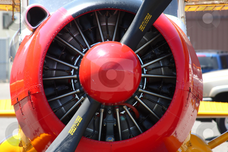 Vintage Airplane Propeller stock photo, Propeller and engines of a vintage airplane. by Steve Stedman