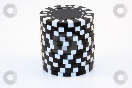Stack of Black Casino Chips stock photo, Isolated stack of black casino chips. by Steve Stedman