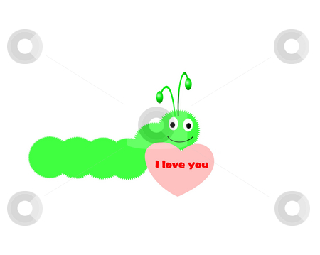 I love you caterpillar stock photo, Combination of vecor and rastor layers to create an illustration by Michelle Bergkamp
