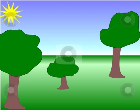 Summer scene stock photo, Vector drawn trees on a preset gradient background by Michelle Bergkamp