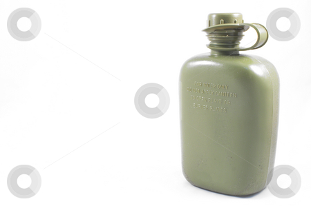 Canteen stock photo, A military style olive green water canteen. by Robert Byron