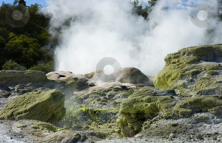 Rotarua Steam stock photo, The bubbling, steaming hot springs of Rotarua on the North Island of New Zealand. by Mike Dawson