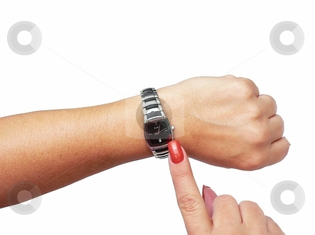 Isolated hand with watch stock photo, Hand with watch checking time isolated on white by Perry Correll