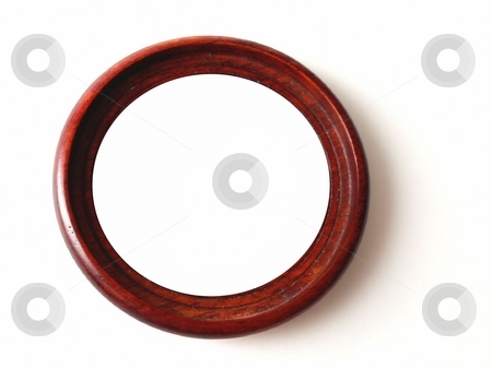 Isolated object stock photo, Isolated circular wooden frame with drop shadow by Perry Correll