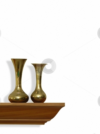 Isolated object stock photo, 2 brass vases on wooden shelf by Perry Correll