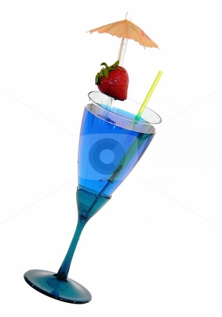Blue cocktail stock photo, Fancy cocktail isolated on white by Perry Correll