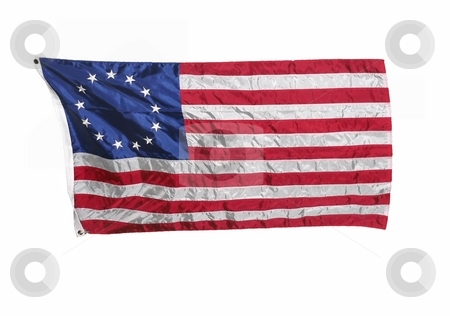 Colonial American flag isolated on white stock photo, Isolated US flag from original 13 colonies colonial america american stars stripes red white blue bars patriotic historical history patriotism by Perry Correll