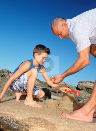 MPIXIS550158 stock photo, Father and son with sandcastle by Mpixis World