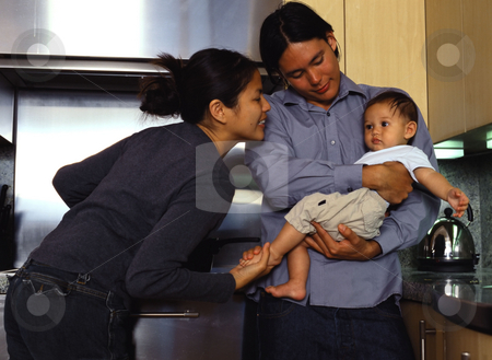 MPIXIS589064 stock photo, Young family in kitchen by Mpixis World