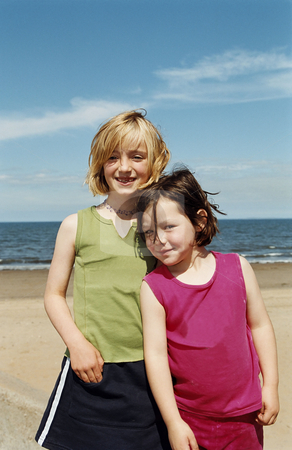 MPIXIS550738 stock photo, Portrait of two girls on beach by Mpixis World