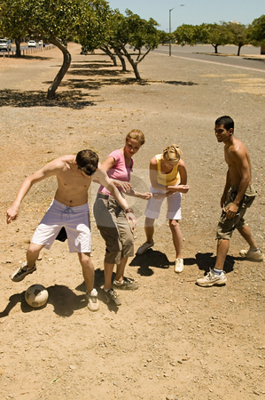 MPIXIS570145 stock photo, Friends playing football by Mpixis World