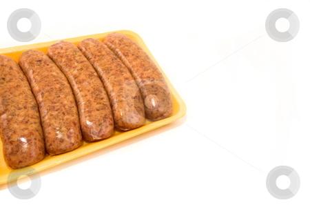 Hot Sausage stock photo, Italian hot sausage on yellow styrofoam isolated by Jack Schiffer