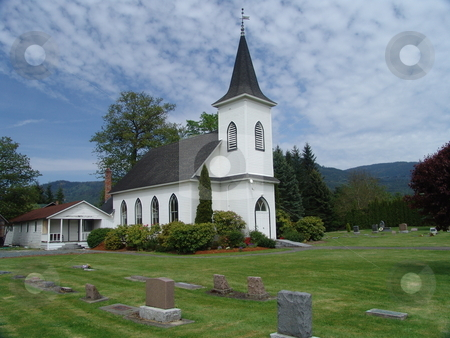 Country Church And Graveyard stock photo, Country Church and Graveyard with Blue Sky by Steve Stedman