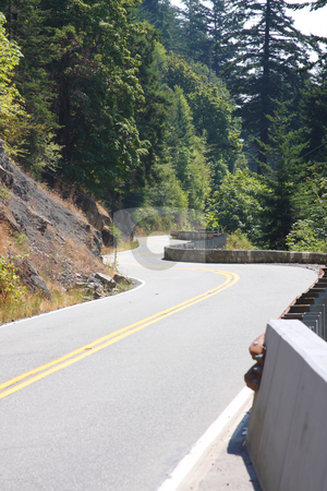 Hillside Winding Road stock photo, Winding road along a cliff through the forest. by Steve Stedman