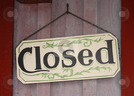 Closed Sign stock photo, Decorative closed sign on a wood background. by Steve Stedman