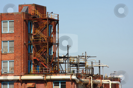 Industrial Buildings stock photo, Industrial buildings part of a pulp and paper mill that is being dismantled. by Steve Stedman